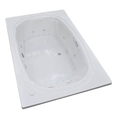 Universal Tubs Peridot Diamond Series 6.5 ft. Acrylic Rectangular Drop-In Center Drain Whirlpool and Air Bath Tub in White