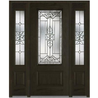 60 in. x 80 in. Cadence Decorative Glass 3/4 Lite Finished Oak Fiberglass Prehung Front Door with Sidelites Product Photo