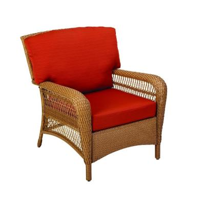 Martha Stewart Living Charlottetown Natural All-Weather Wicker Patio Lounge Chair with Quarry Red Cushion