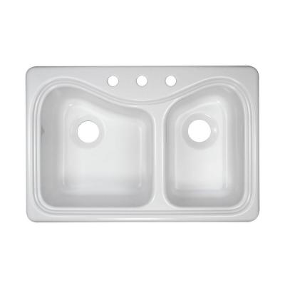 Lyons Industries Connoisseur Top Mount Acrylic 33x22x9 in. 3-Hole 60/40 Double Bowl Kitchen Sink in White