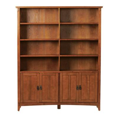 Home Decorators Collection 57 in. W Artisan Light Oak 2-Bookcase with Doors