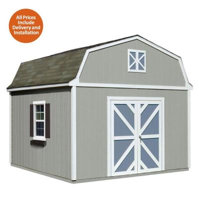 Installed Sequoia 12 ft. x 12 ft. Wood Storage Shed with Driftwood Shingles Product Photo