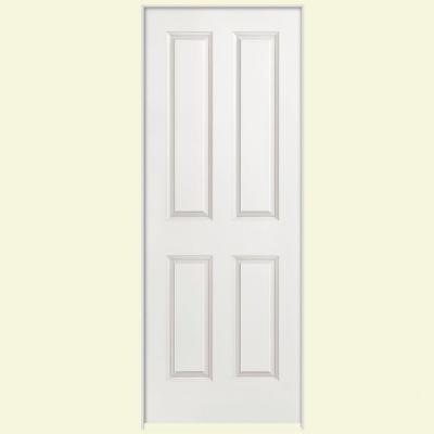Masonite 36 in. x 80 in. Smooth 4-Panel Hollow Core Primed Composite Single Prehung Interior Door