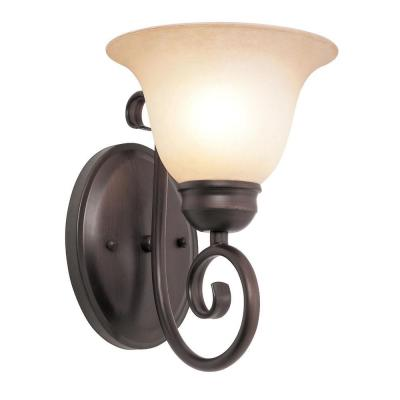 Bel Air Lighting Cabernet Collection 1-Light Oiled Bronze Sconce with Tea Stained Shade