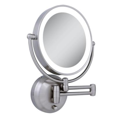 Zadro 11 in. x 13.75 in. LED Lighted 10X/1X Round Wall Mirror in Satin Nickel
