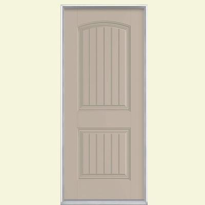 32 in. x 80 in. Cheyenne 2-Panel Painted Smooth Fiberglass Prehung