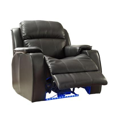Carlyle LED Bonded Leather Power Recliner in Black with Cupholders Product Photo