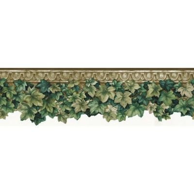 The Wallpaper Company 8 in. x 10 in. Green Ivy Die-Cut Border Sample