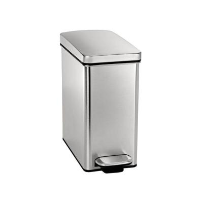 simplehuman 10 l Fingerprint-Proof Brushed Stainless Steel Slim Step-On Trash Can