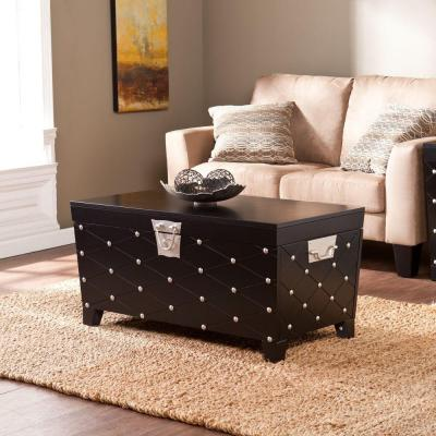 Nailhead Rectangle Black Cocktail Table