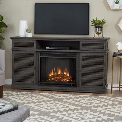 Real Flame Cavallo 59 in. Entertainment Electric Fireplace in Gray