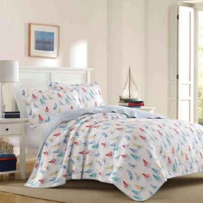 Ahoy Bright Blue Cotton Quilt Set