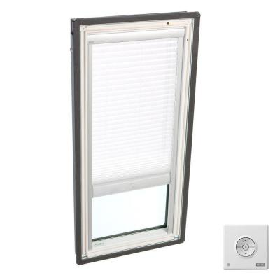 21 in. x 45-3/4 in. Fixed Deck-Mount Skylight with Laminated Low-E3 Glass and White Solar Powered Light Filtering Blind Product Photo