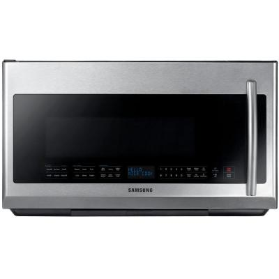 Samsung 30 in. 2.1 cu. ft. Over the Range Microwave in Stainless Steel with Sensor Cooking and LED Cooktop Lighting