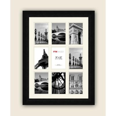 PTM Images 9-Opening 4 in. x 6 in. White Matted Black Photo Collage Frame