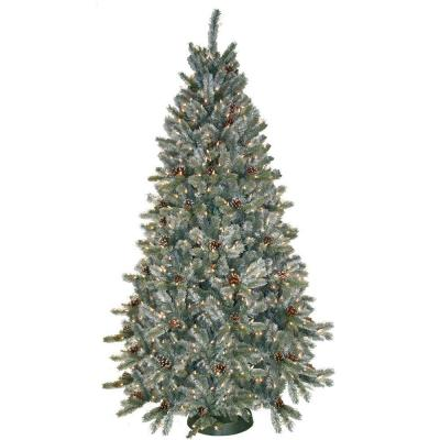 General Foam 7.5 ft. Pre-Lit Siberian Frosted Pine Artificial Christmas Tree with Clear Lights and Pine Cones