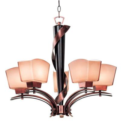 Kenroy Home Oslo 5-Light Burnished Copper Chandelier 02736