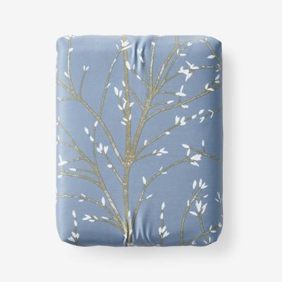 Company Cotton Thistle Blue 300-Thread Count Bamboo Sateen Fitted Sheet
