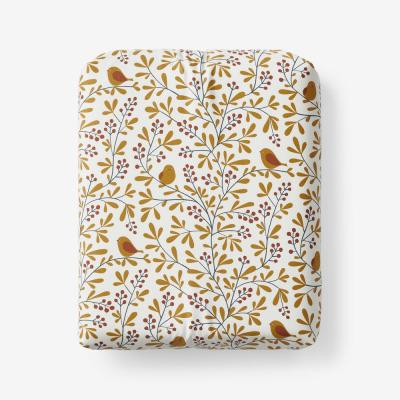 Company Cotton Alexandria Wrinkle-Free Bird Branch 300-Thread Count Sateen Fitted Sheet