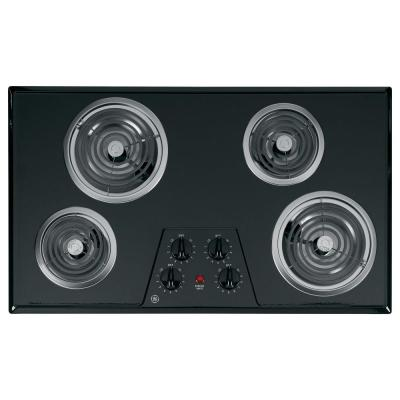 GE 36 in. Coil Electric Cooktop in Black with 4 Elements