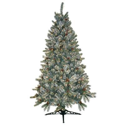 General Foam 6.5 ft. Pre-Lit Siberian Frosted Pine Artificial Christmas Tree with Clear Lights and Pine Cones