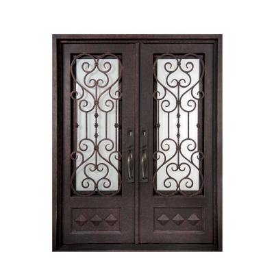 62 in. x 97.5 in. Vita Francese Classic 3/4 Lite Painted Oil Rubbed Bronze Wrought Iron Prehung Front Door Product Photo