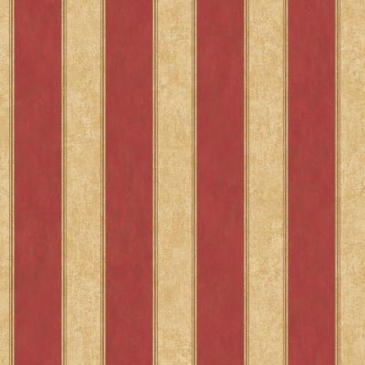 The Wallpaper Company 56 sq. ft. Red Stripe Wallpaper-DISCONTINUED