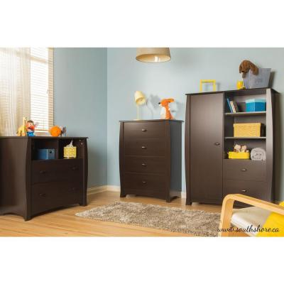 South Shore Beehive 2-Drawer Espresso Changing Table