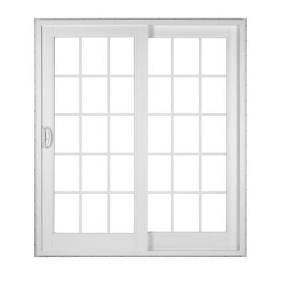 White 2-Panel French Rail Sliding Patio Door with ProSolar Low-E Glass, Grids, Custom Interior Hardware Product Photo