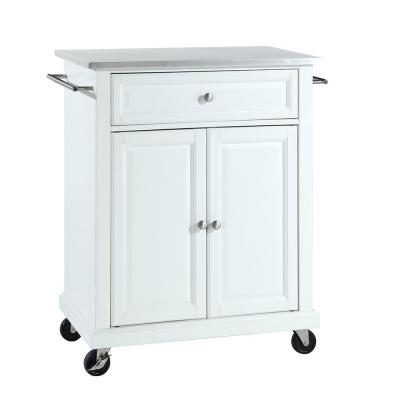 28-1/4 in. W Stainless Steel Top Mobile Island Kitchen Cart in