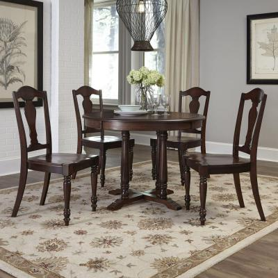 Country Comfort 42 in. W Wood 5-Piece Dining Set in Aged