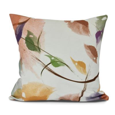 Windy Floral Print Throw Pillow