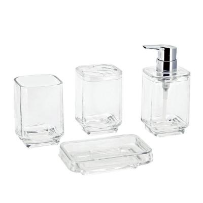 Kingston Brass Bright Collection 4-Piece Bath Accessory Set in Clear