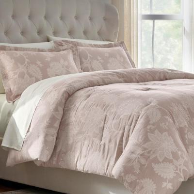 Florene 3-Piece Dusty Mauve Romantic Floral Comforter Set