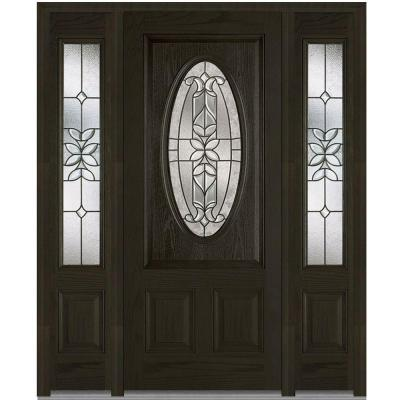 60 in. x 80 in. Cadence Decorative Glass 3/4 Oval Finished Oak Fiberglass Prehung Front Door with Sidelites Product Photo