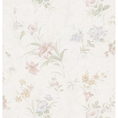 Brewster 56 sq. ft. Lily Floral Wallpaper