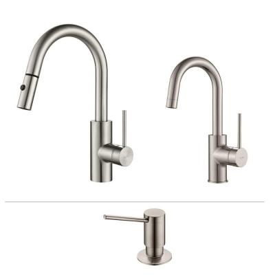 KRAUS Oletto Single-Handle Pull-Down Kitchen Faucet and Bar Faucet with Soap Dispenser in Stainless Steel