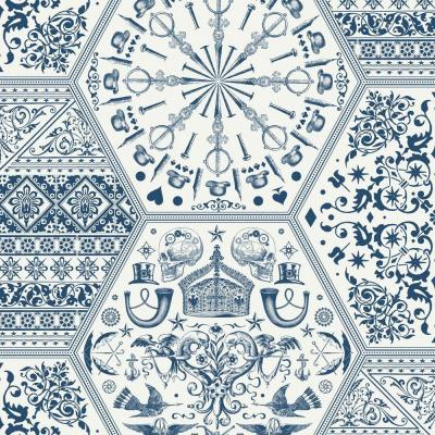 56 sq. ft. White and Blue World Heritage Wallpaper