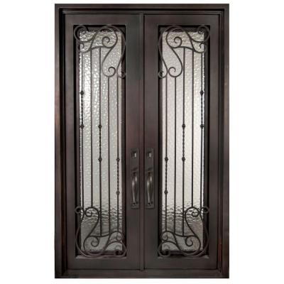 62 in. x 97.5 in. Armonia Classic Full Lite Painted Oil Rubbed Bronze Wrought Iron Prehung Front Door Product Photo