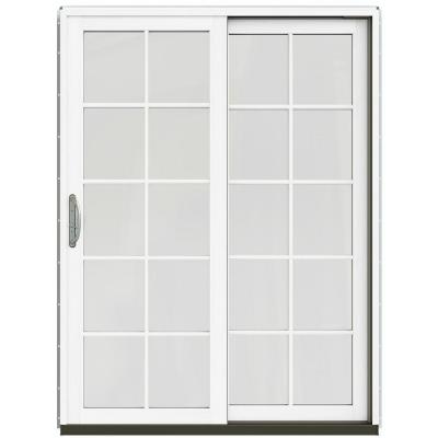59-1/4 in. x 79-1/2 in. W-2500 Black Prehung Right-Hand Clad-Wood Sliding Patio Door with 10-Lite Grids Product Photo