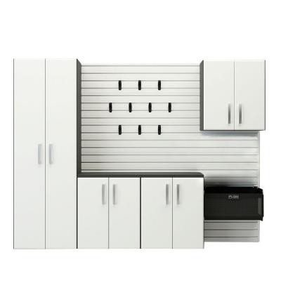 Flow Wall 72 in. H x 96 in. W x 17 in. D Cabinet Starter Set with Panels in White (12-Pieces)
