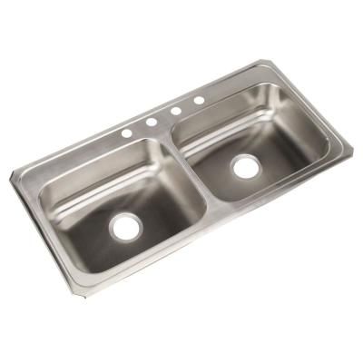Elkay Celebrity Top Mount Stainless Steel 43 in. 4-HoleDouble Bowl Kitchen Sink