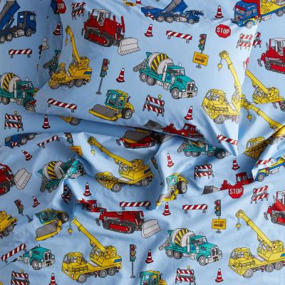 Construction Trucks 200-Thread Count Organic Cotton Percale Sheet Set