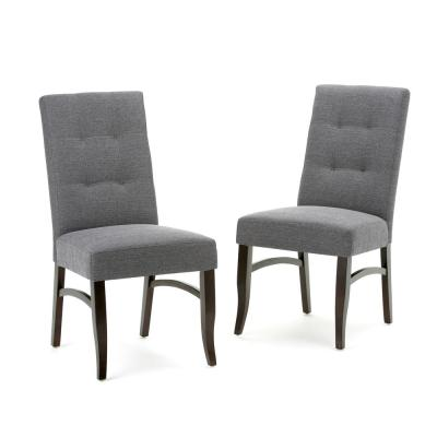 Ezra Linen Look Fabric Upholstery Dining Chair in Slate Grey (2-Pack)