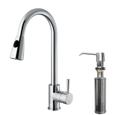 VIGO Single-Handle Pull-Out Sprayer Kitchen Faucet with Soap Dispenser in Chrome