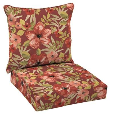Chili Tropical Blossom Welted 2-Piece Deep Seating Outdoor Dining Chair Cushion