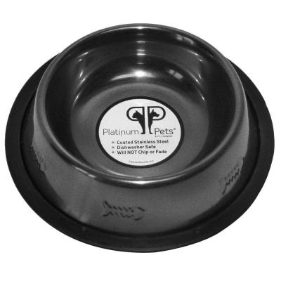Platinum Pets 1 Cup Stainless Steel Embossed Non-Tip Cat Bowl in Chrome