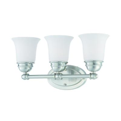 Thomas Lighting Bella 3-Light Brushed Nickel Bath Light with Etched Glass Shade