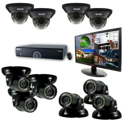 16-Channel 4TB 960H DVR Surveillance System with (10) 700 TVL 100 ft. Night Vision Cameras and 21.5 in. Monitor Product Photo