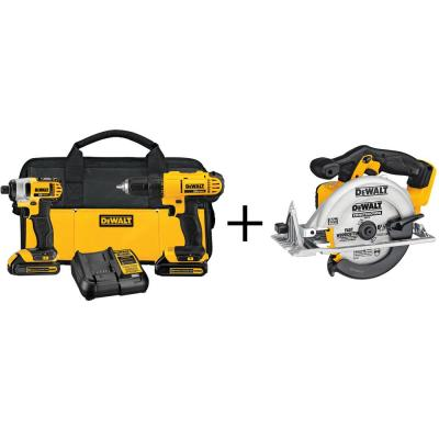 DEWALT 20-Volt MAX Lithium-Ion Cordless Combo Kit (2-Tool) with Bonus Bare Cordless Circular Saw